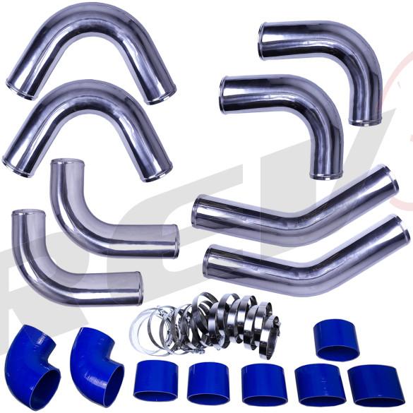 "Universal Intercooler Pipping Kit, Aluminum, 4"", Blue Coupler"