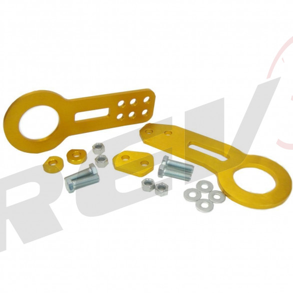 Universal Aluminum CNC Tow Hook Set | Front & Rear | Gold