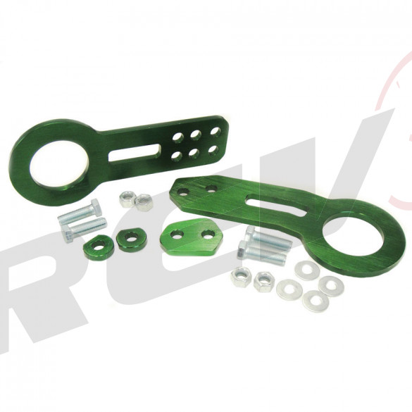 Universal Aluminum CNC Tow Hook Set | Front & Rear | Green
