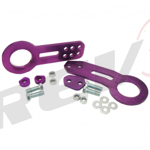 Universal Aluminum CNC Tow Hook Set | Front & Rear | Purple