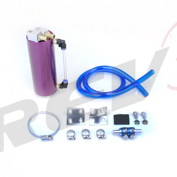 Universal Aluminum Oil Catch Can with Hose Kit, 750ML, Purple