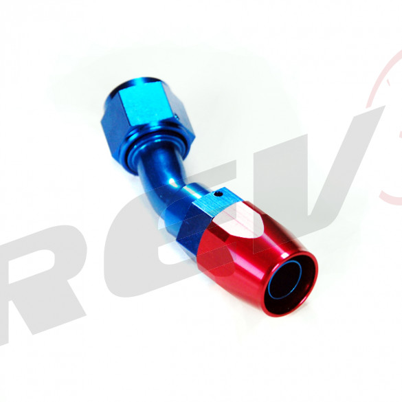 45 Degree Double Swivel Hose End - Aluminum; -8AN