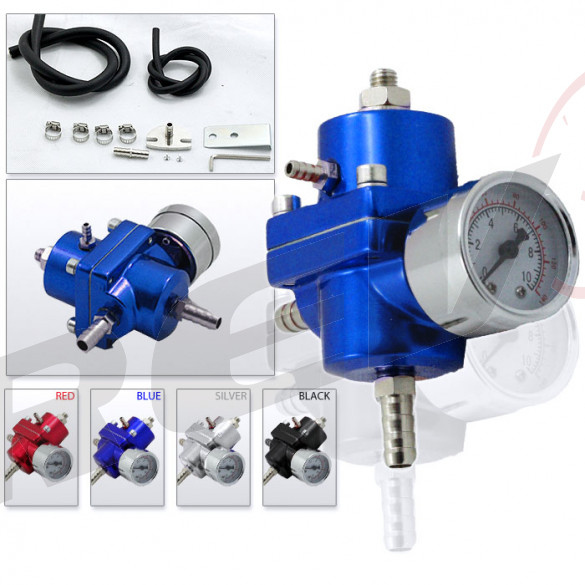 Universal Fuel Pressure Regulator with Gauge (Blue)