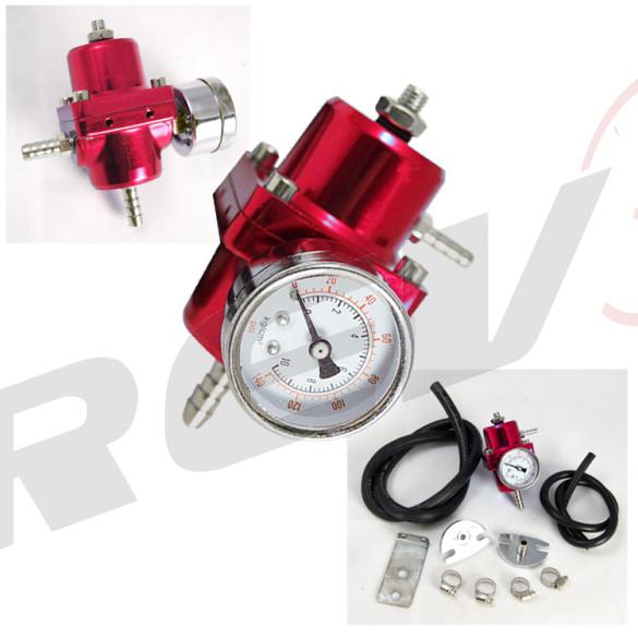 Universal Fuel Pressure Regulator with Gauge (Red)