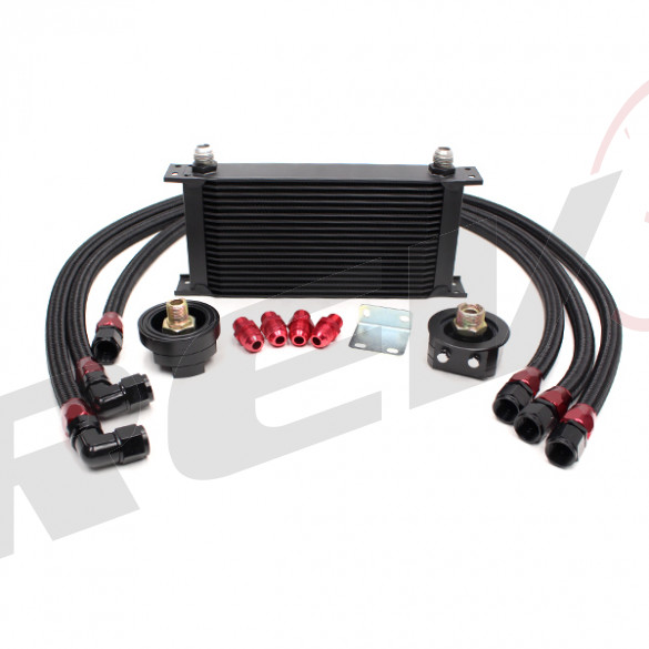 Universal 19 Row Oil Cooler Kit with Oil Filter Relocation Kit (Bar & Plate Core)