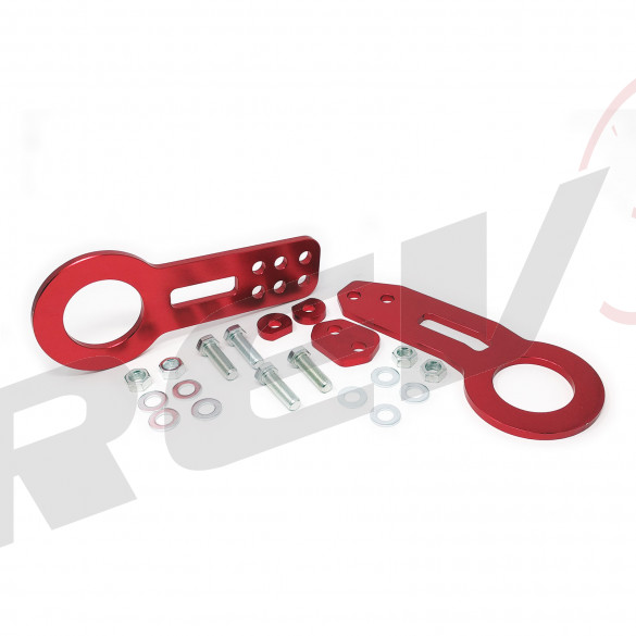Universal Aluminum CNC Tow Hook Set | Front & Rear | Red