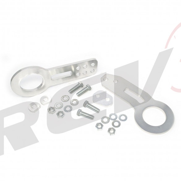 Universal Aluminum CNC Tow Hook Set | Front & Rear | Silver
