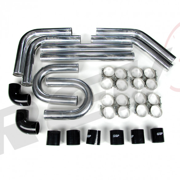 "Universal Intercooler Pipping Kit, Aluminum, 2-1/2"", Black Coupler"
