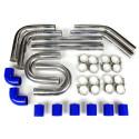 "Universal Intercooler Pipping Kit, Aluminum, 2-3/4"", Blue Coupler"