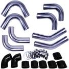 "Universal Intercooler Pipping Kit, Aluminum, 4"", Black Coupler"