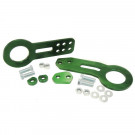 Universal Aluminum CNC Tow Hook Set | Front & Rear | Green