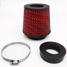 Universal High Performance Intake Cone with Adapter from 2.25 in. to 4 in. (Red)