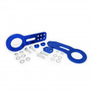 Universal Aluminum CNC Tow Hook Set | Front & Rear | Blue